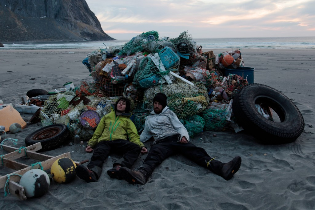 Lonely beachcombers: In nine months Inge (left) and Jørn (right) collected three tons of garbage, jetsom and waste.