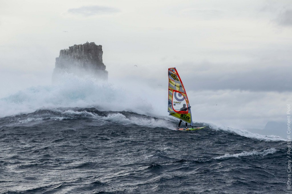 Alastair McLeod – a 23 year old student from Monash University - became the first person to windsurf the giant waves of Pedra Branca off Tasmania's South Coast, Australia on July 28-29, 2015 // Chris Carey / Red Bull Content Pool // P-20150807-00572 // Usage for editorial use only // Please go to www.redbullcontentpool.com for further information. //